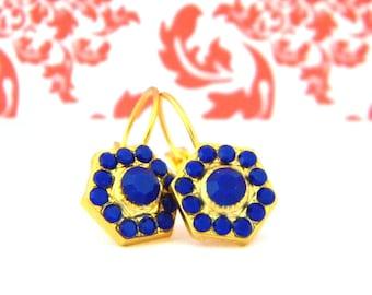 Gold Matte Cobalt Blue Victorian Style Leverback Earrings