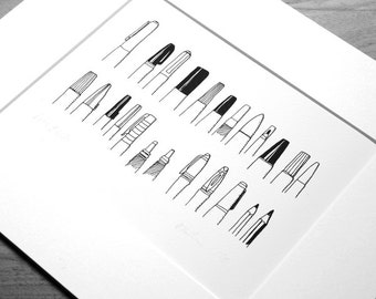 Pens and Lids - black and white print of my favourite drawing pens & pencils
