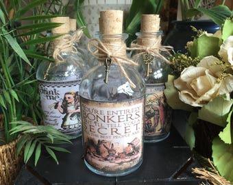 Alice in Wonderland Gift. Alice in Wonderland Bottle. Bonkers Bottle.  We're all Bonkers Bottle. Alice in Wonderland Decor.
