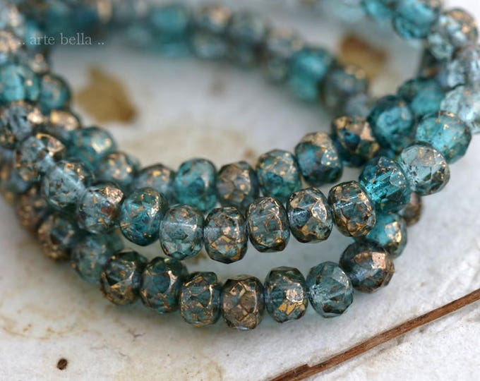 GILDED AQUA MIX ..  New 30 Picasso Czech Glass Rondelle Beads 3x5mm (6175-st)