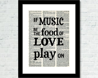If Music Is The Food Of Love Play On - Shakespeare Quote - Dictionary Art Print