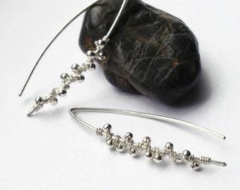 Sterling silver threader earrings, Minimalist Silver Earrings, Threader Earrings, Beaded Earrings, Everyday Earrings for her, Gift for Women
