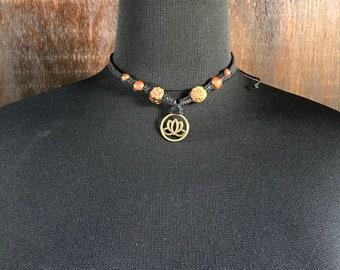 Lotus, Bodhi Seeds Macrame Choker Necklace