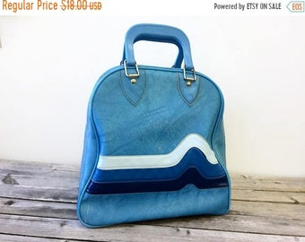 CLEARANCE Vintage Bowling Bag, 3 Tone Blue Vinyl, Large Handbag or Diaper Bag, Repurposed