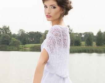 White Shrug Bridal Lace Shrug Wedding Lace Bolero Bridal knit bolero Weddings cover up Summer bolero Evening shrug Hand Knitted Shrug