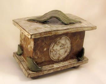 Custom Cremation Urn - Hand-built Stoneware Cremains Box - CHEST 2