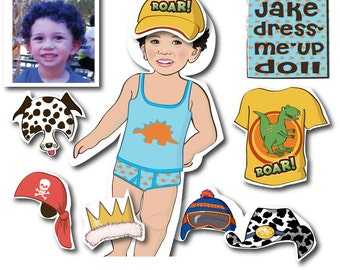 Toddler Boy's MAGNETIC  Paper Doll - Illustrated from your photo