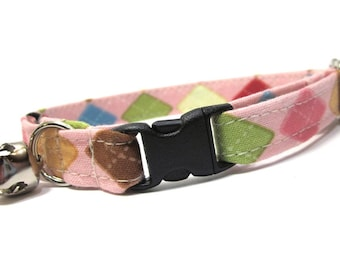 Argyle Cat Collar- Pink and Brown Argyle