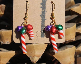 """Hand Crafted Earrings Lampwork Candy Canes w/Purple & Red Bells size 1 1/2"""" /# 7"""