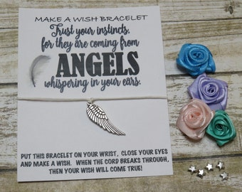 Customize Wish Bracelet - feathers, angel, angels, feather, motivational, bird, birds, feathery charm, WING, wings, trust your instincts