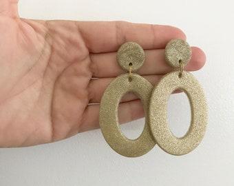 Statement Oval Drop Earrings