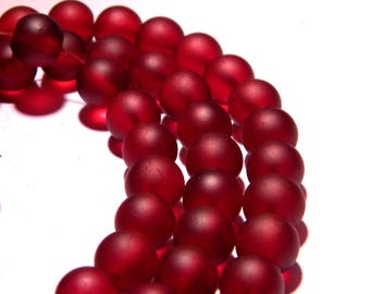 50 beads-frosted - glass effect frosted 10 mm - red - PG83