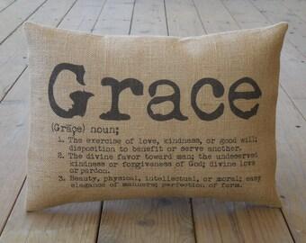 Grace Burlap Pillow, Farmhouse Pillows | Inspirational Pillow, Farmhouse Pillows, Saying 5,  INSERT INCLUDED