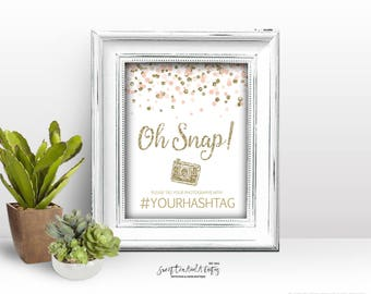 Hashtag Sign Blush Pink and Gold Glitter Confetti Printable Signs Wedding Bridal Shower Birthday Party Baby Digital File Custom Photograph