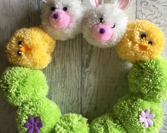 Easter wreath, Easter decorations, Easter bunny, Easter chick, Easter pom pom wreath, easter wall hanging, easter gift, pom pom wreath,