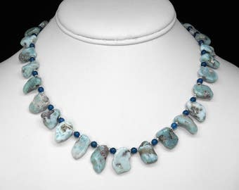 """Larimar and Blue Apatite Necklace in Silver, 16.5"""""""