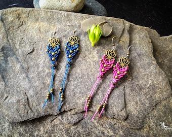 Micro macrame lotus earrings boho chic yoga jewelry by Creations Mariposa