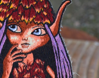 Autumn fairy pixie patch - woodland sew on bag embellishment enchanted magical forest creature leaf hat purple hair Brian Froud inspired