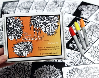 Box #9 mandala break special Venetian masks, included 30 small drawings to color every day