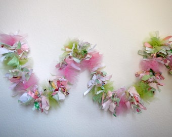 Pink, Green and White Garland,  Party, Shower, Wedding, Home Decor, Photo Prop