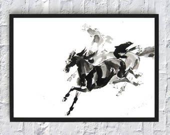 Watercolor Horse Wall Art Print - Horse Painting Print - Horse Poster - Animals Print - Black Horse