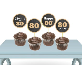 80th Birthday Cupcake Toppers PRINTABLE, Gold and Black Birthday Decorations, Gold Cupcake Toppers, Black and Gold Party, 80th Cake Topper