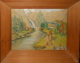 water color of Indians tee pee and canoe waterfall mt