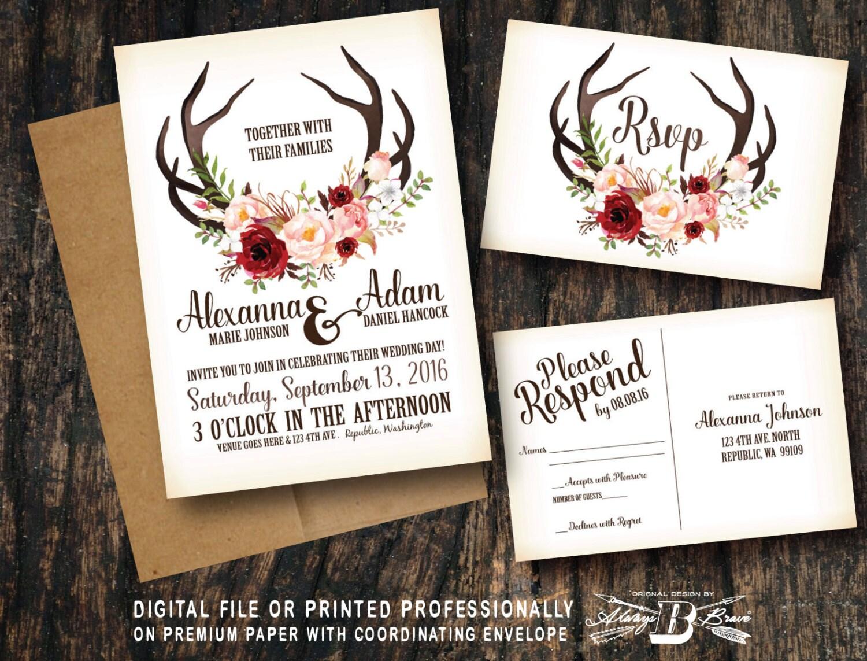 Rustic Wedding Invitation & RSVP Deer Antler Horns Marsala