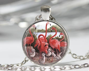 Pink Flamingo Necklace Tropical Bird Jewelry Nature Art Pendant in Bronze or Silver with Link Chain Included
