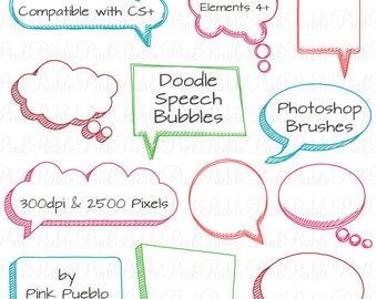 Doodle Speech Bubbles Photoshop Brushes, Hand Drawn Speech Bubbles Brushes - Commercial and Personal Use