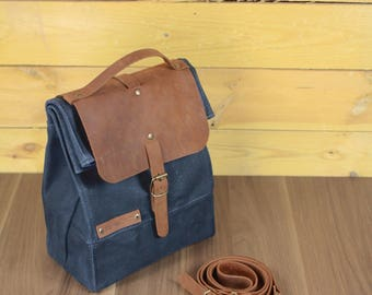 Lunch bag waxed canvas, lunch bag canvas and leather, waxed canvas reusable, lunch bag with handle, lunchbox, lunch bag, sac á lunch