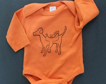 organic long sleeve bodysuit, go doggie, dog with a saddle, cotton baby clothes, screen printed, modern baby, baby shower gift, family pet