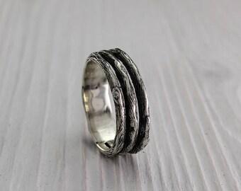Tree unique silver wedding band, Men's branch wedding ring, Womens tree wedding ring, Nature ring, Wide silver ring, Silver wedding ring