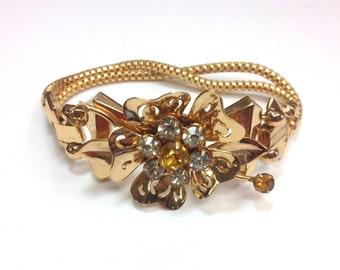 50s Golden Flower Bracelet | Mesh Bracelet | Coro