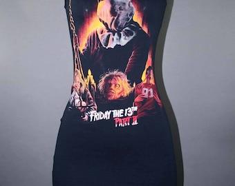 Friday The 13th modifié de film d'horreur robe Tshirt Jason Voorhees culte Goth mode Slasher des années 80