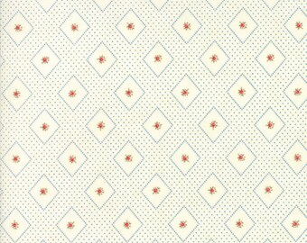 Ann's Arbor Cream Blue Print designed by Minick & Simpson for Moda Fabrics, 100% Premium Cotton by the Yard