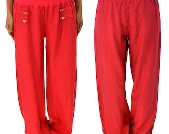 HF400R42 trousers Gr. L linen Layered look gr. 42/44 Red balloon trousers Alibabahose Harem trousers