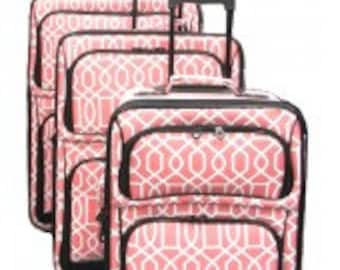 Three piece Luggage Set.  Vine Print in Pink, Black, or Gray