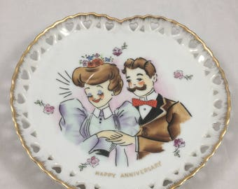Vintage Norcrest Heart Shaped Happy Anniversary Saucer Plate Featuring Old Timey Couple