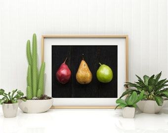 pears // food photography print // kitchen decor // dining room // minimalist art print // rustic farmhouse wall art