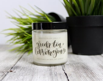 GREEN TEA + LEMONGRASS Soy Candle   4oz.   Mothers Day Gift   Wedding Favor   Spa Scented Candle   Sample Size   Fresh Clean Spring Scent