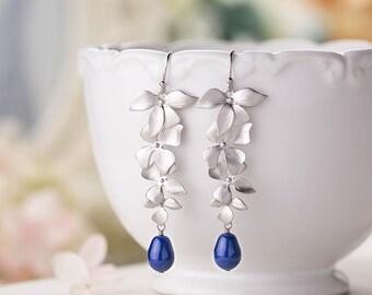 Navy Blue Wedding Earrings Silver Flower Dark Blue Cream Pearl Bridal Earrings Bridesmaid Earrings Gift Something Blue Wedding Jewelry