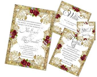 Pocket fold Wedding Invitation! Gold and Roses! Set of 7