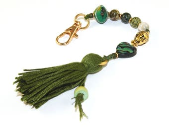 Car Mala Beads, Rearview Mirror Charm Dangle, Paua Gemstone & Green Heart Chakra Tassel Bag Clip