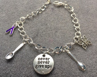 Never Give Up Spoonie Chronically Charmed Bracelet