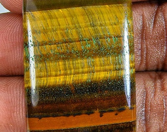 Brown Tiger Eye Octagon Cabochon 24X35X7 Mm Gemstone ;#2052