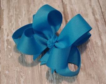 """4"""" Turquoise Boutique Layered Hair Bow Turquoise Girls Hair Bow Turquoise Toddler Hair Bow"""
