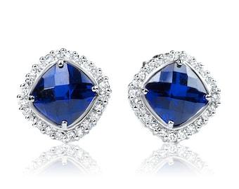 Blue  Cushion Cut Stud Earrings, Sapphire Earrings, Sapphire Cushion CZ earrings, Silver Sapphire earrings, September stone jewelry