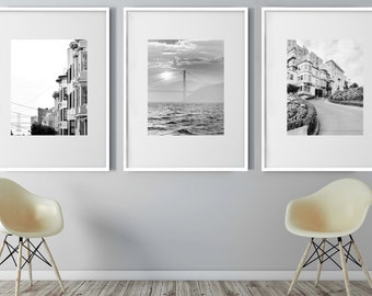 San Francisco, Set of 3, San Francisco Photography, San Francisco print set, Black and White, Golden Gate Bridge, Lombard Street, Travel Art