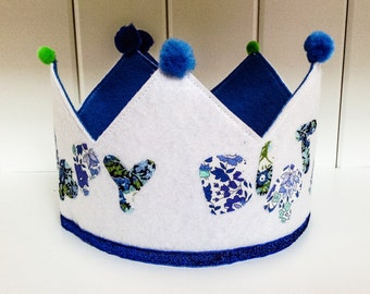 Happy Birthday Felt Crowns,Liberty Fabric Lettering,  Fleece Lining, Hand Made, Adjustable For Most Ages
